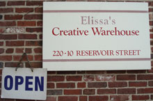 Elissas Creative Warehouse entryway sign